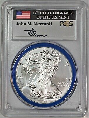 2018 W Burnished Silver Eagle PCGS SP70 Mercanti Mint Engraver