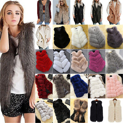 Womens Ladies Winter Faux Fur Sleeveless Waistcoat Gilet Vest Top Jacket Coat UK