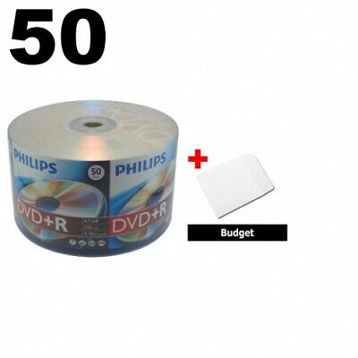 50 Philips 16X DVD+R 4.7GB (Philips Logo on Top) & 100 Paper Sleeves