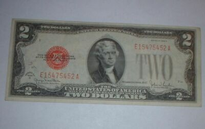 1928 G Red Seal Two Dollar Bill Note Legal Tender Bill $2 Almost Uncirculated