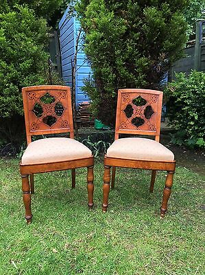 Antique Pair Of Biedermeier Burl Elm Chairs Carved PearDrop Or HeartShape Design
