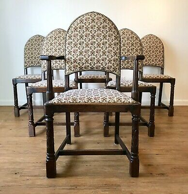 Antique Jacobean Oak Dining Chairs