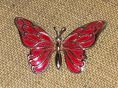 VINTAGE 1970's VALENTINE RED ENAMEL GOLD PIN BROOCH SIGNED NAPIER BUTTERFLY