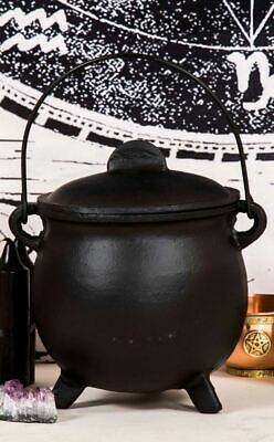 Wicca Witch Jumbo Black Cast Iron Cauldron With Lid Burning Blending Rituals