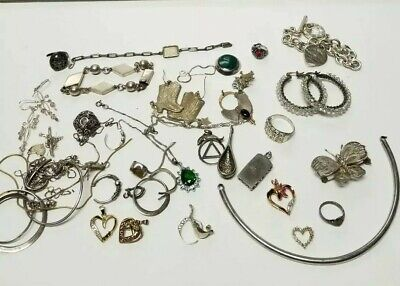 Sterling Silver Jewelry Lot Vintage To Now 175 grams Wearable And Scrap