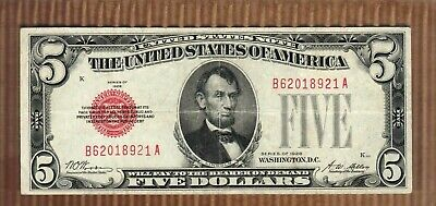 $5 1928 FIVE Dollar Red Seal United States Legal Tender Note US Money Old Bill