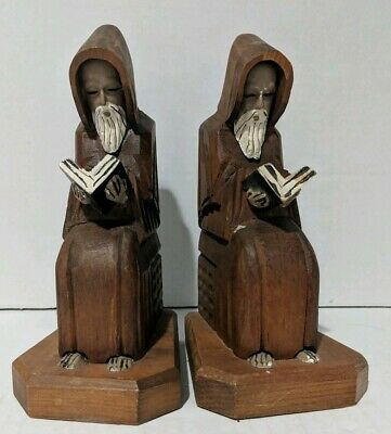 Vintage Antique Bookends Hand Carved Wooden Bible Reading Monks - Made in Mexico