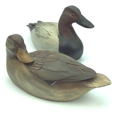 The Old Bay Collection Set of 2 Carved Wooden Ducks Sculpture Figurine Handpaint