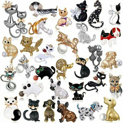 Fashion Women Animals Cat Dog Puppy Crystal Brooch Pin Charm Cute Party Jewelry