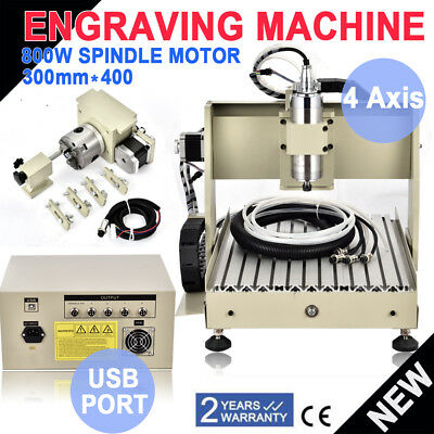 USB Port 4 Axis CNC 800W VFD Router Engraver Drill Mill Machine Spindle 3040
