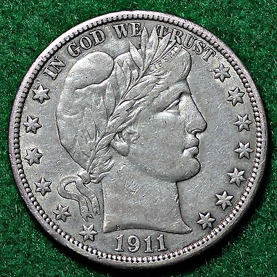 1911 BARBER HALF DOLLAR in EXTREMELY FINE (EF) CONDITION