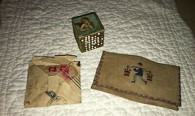 Antique Sewing Lot Decoupaged Pin Cube, Linen Envelope, 18 Crochet Learning