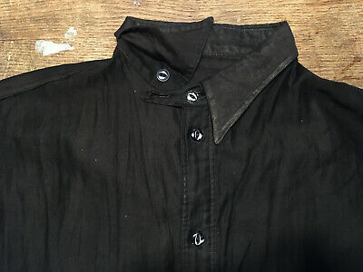 VINTAGE 1920s 30's? BLACK COTTON CHINSTRAP WORK SHIRT EARLY GABARDINE or RAYON?