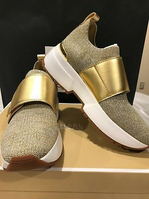 9e8c6c4f5ef1 NIB MICHAEL KORS Gold Sneakers Cosmo Metallic Knit Slip-On Shoes size 6.5
