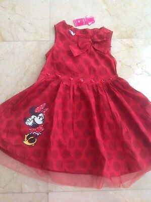 Disney Minnie Mouse Red Girls Cotton Dress Fits 5-6 Years Old