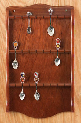 Collector Shelved Spoon Display Rack Case Wood Wall New Walnut f.Holds 24 Spoons