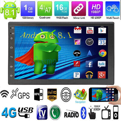 "Android 8.1 Quad Core 7""2DIN GPS Navi WiFi Bluetooth Car Stereo MP5 Radio Player"