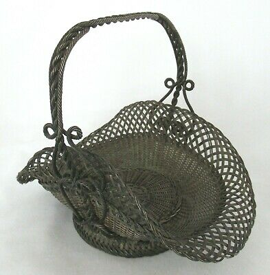 Antique Victorian Woven Wire Flower Basket Ornate Folk Art Easter RARE