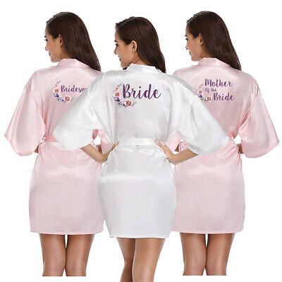 Satin Silk Wedding Bridal Floral Robe Bridesmaid Bride Maid Of Honor Mother Gown