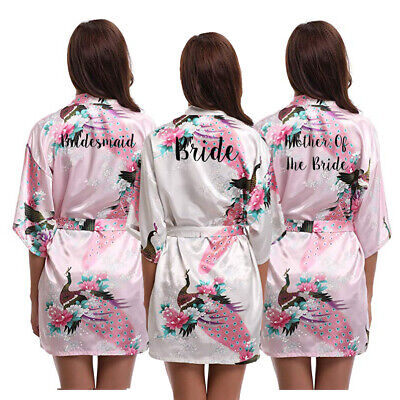 Women Satin Peacock Wedding Robe Bride Bridesmaid Mother Maid Of Honor Gown