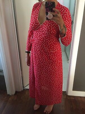 Vintage Red Printed Knit Dressing Gown/Robe/Wrap Dress Size XS-S