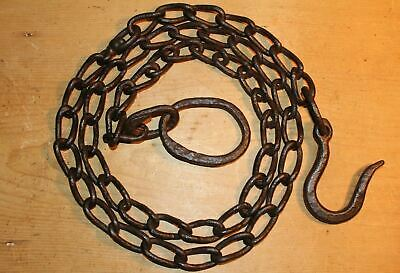 Antique Wrought Iron Hook on Length of Chain Beam Iron Ring 82 inches