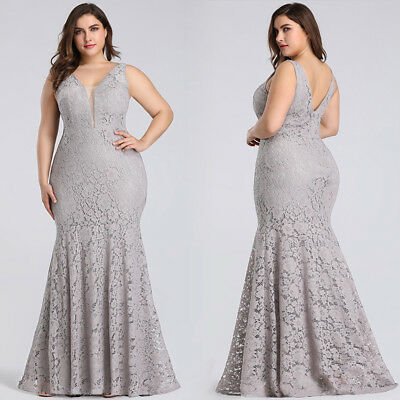 EVER-PRETTY US GREY Lace Mermaid Evening Gowns Plus Size ...