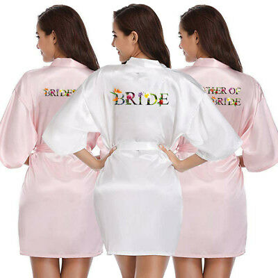 Women Bride Bridesmaid Satin Silk Bath Robe Wedding Mother Bridal Dressing Gown