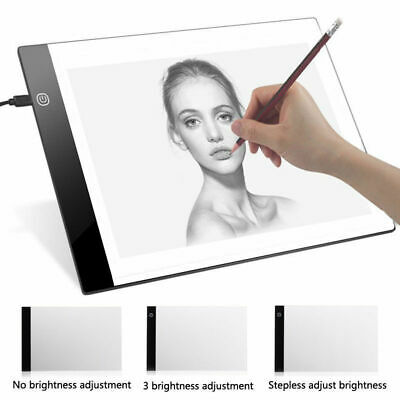 A4 LED Tracing Board Light Box Stencil Drawing Thin Pad Table With USB Cable