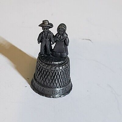 Pewter Thimble  Amish Man & Woman Figures Pennsylvania Dutch Country Crosshatch