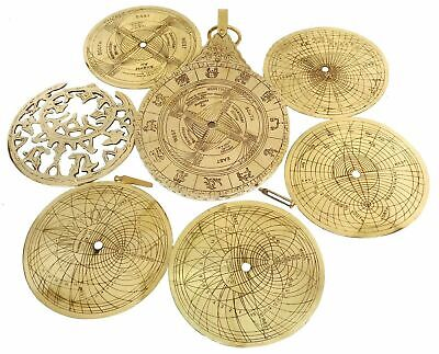 Nautical Shiny Brass Arabic English Calendar Solid Brass Astrolabe Calendar