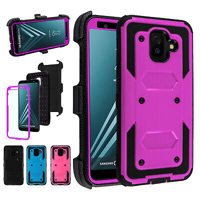 For Samsung Galaxy A6 2018 Armor Case With Kickstand Belt Clip+Screen Protector