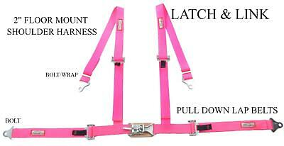 "Sand Rail Four Point 2"" Racing Seat Belt Latch & Link Floor Mount Hot Pink"