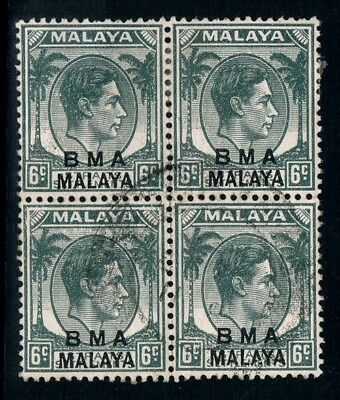 MALAYA • 1940s • Used block of four 6c KGVI overprinted BMA MALAYA