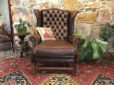 Vintage English Chesterfield Leather Wingback Lounge Chair-Armchair-Brown~Sofa