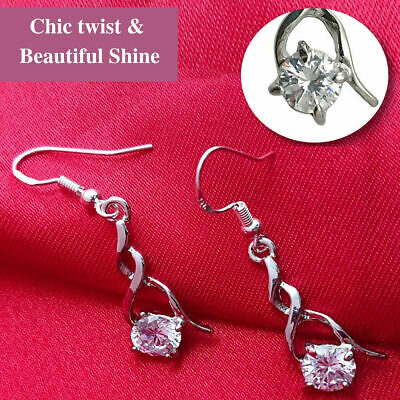 925 Sterling Silver Plated Fun Sparkling Magic Cubic Zirconia Cube Drop Earrings