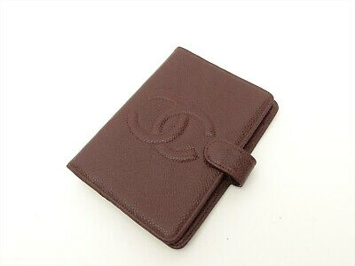CHANEL CC Authentic CAVIAR Leather Bordeaux Agenda Diary cover Auth