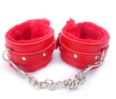 Faux Leather Handcuffs Sex Slave Hand Ring Ankle Bed Cuffs System Adult Set Z