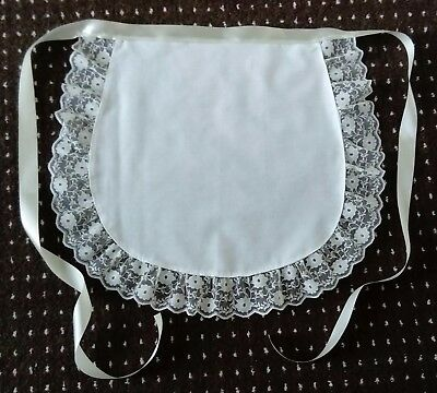 """WHITE WAIST APRON cream lace trimmed ADULTS 50'S  FRENCH MAID PINNY 68"""" waist"""