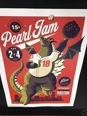 Pearl Jam Poster Tom Whalen 2018 Boston Red Sox Fenway Park  Brand New!