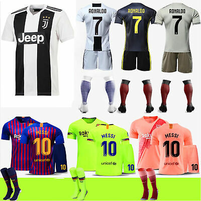 2019 Football Ronaldo Kit Short Sleeve Messi Jersey Adult Kids Team Suit+Socks