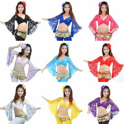 Women Sexy Belly Dance Costume Bolero Lace Crop Top Flared Blouse 10 Colors
