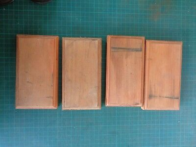 Vintage electrical switch plates, wooden panels