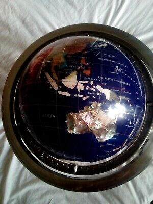 Large Gemstone Globe on stand with  Compass 30cm tall 30 cm diameter