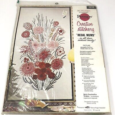 "Vtg Paragon Creative Stitchery REGAL MUMS Crewel Kit NOS NIB MCM 13"" x 24"""