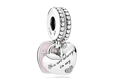 Genuine Pandora ALE S925 Sterling Silver MOTHER & DAUGHTER HEARTS PENDANT CHARM