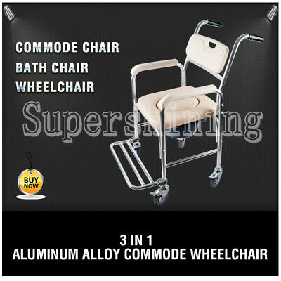 New AU Mobile Shower Toilet Commode Chair Bathroom Bedside Footrest Wheelchair