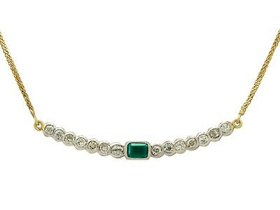 Vintage 0.44Ct Emerald and 1.54Ct Diamond 18k White Gold Necklace Circa 1980