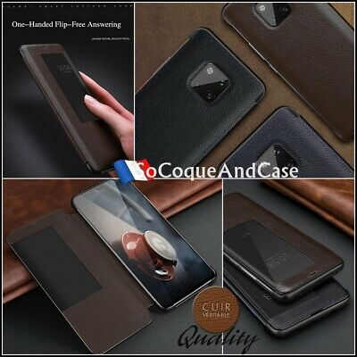 Haute Qualité Coque Housse 100% Cuir Genuine Leather View Huawei Mate 20 & Pro