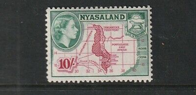 QEII NYASALAND 53 10/-  fresh lmm  cat £16